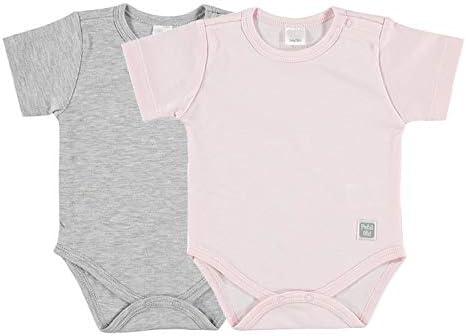 Petit Oh! - Pack de 2 Bodies Manga Corta para bebé 100% algodón Pima Talla 0-3 Meses Color Rosa y Gris: Amazon.es: Ropa y accesorios