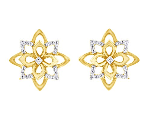 1/6 CT Round Cut White Natural Diamond Lotus Flower Stud Earrings in 14K Yellow Gold Over Sterling Silver by Wishrocks