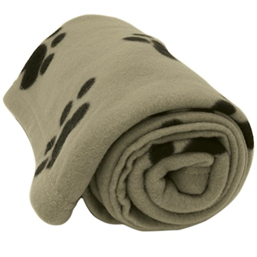 Evelots Large Fleece Pet Blanket 60 x 40 Inches,Cats & Dogs, Beige & Black Large Paw Print Fleece