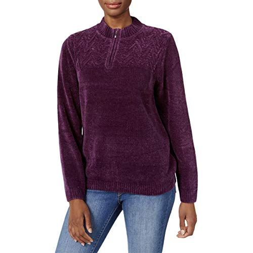 Alfred Dunner Women's Petite Classic Quarter Zip Chenille Sweater, Amethyst, PXL ()