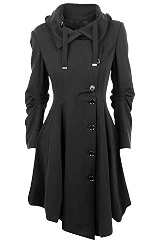 ETCYY Women's Black Button Asymmetrical Winter Long Trench Jackets Coat