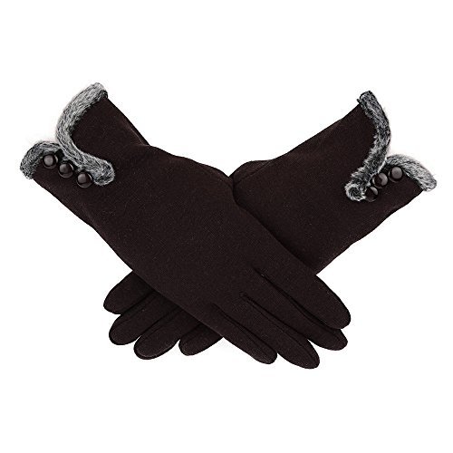 URIBAKE Women's Thermal Gloves Full Finger Touch Screen Cashmere Winter Warm Driving Gloves ()