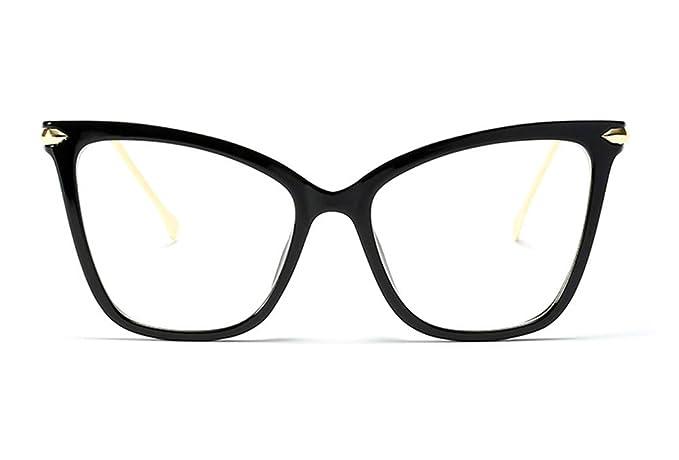836691eba Beison Customize Prescription Glasses, Womens Cat Eye Transparent Frame Mod  Sunglasses Eyeglasses