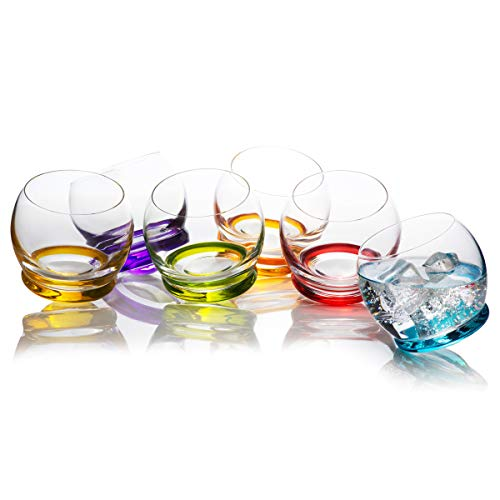Rainbow Multi Colored Bottom Drinking Glasses Set of 6 , Fun and Cool, Mixed Vibrant Different Colors, Large, Double Walled Glass, Kitchen / 10.4 Ounces 310 Milliliters]()