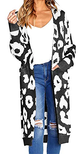BTFBM Women Long Sleeve Open Front Leopard Knit Long Cardigan Casual Print Knitted Maxi Sweater Coat Outwear with Pockets (Black, X-Large) from BTFBM