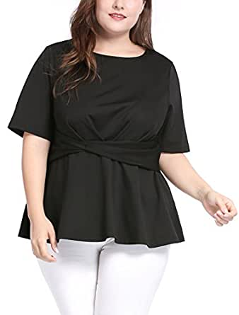 uxcell Women's Plus Size Short Sleeves Twisted Knot Front Peplum Top Black 1X