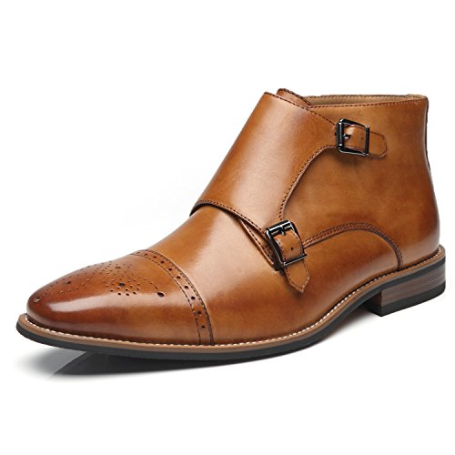 La Milano Men's Dress Shoes Double Monk Strap Cap Toe Leather Dress Boot For Men Chukka Ankle Boots