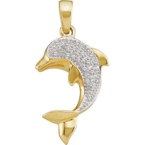 The Diamond Deal 14kt Yellow Gold Womens Round Diamond Dolphin Fish Animal Pendant 1/10 Cttw