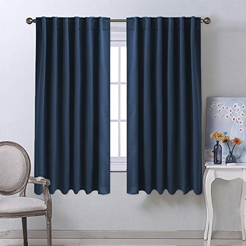 NICETOWN Blackout Curtains Window Drapes - (Navy Color) 52 inches W by 63 inches L, Set of 2, Blackout Curtain Panels for Boy