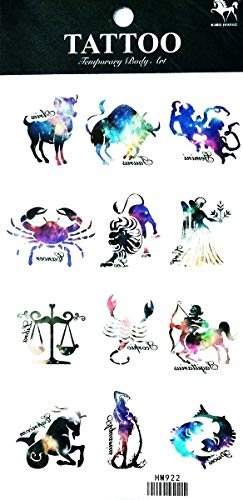 NipitShop 1 Sheet Zodiac Signs Birth Symbols Style Temporary Tattoos for Women Body Art Tattoo Sticker 3D Fake Tatoo