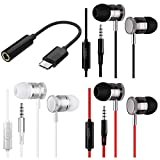 3 Packs Earbud Headphones Remote & Microphone, DaKuan in Ear Earphone Stereo Sound Tangle Free Smartphones, Laptops, Gaming, Fits All 3.5mm Interface Device Bonus Type-C Adapter