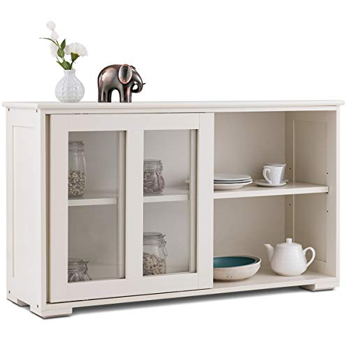 Costzon Kitchen Storage Sideboard Antique Stackable Cabinet For Home Cupboard Buffet Dining Room Cream White With Sliding Door Window