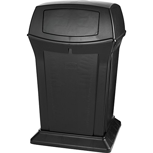 - Rubbermaid Commercial Ranger Trash Can, 45 Gallon, Black, FG917188BLA