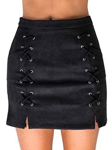 Simplee Apparel Womens Lace up Faux Suede Leather A Line Mini Skirt ,Black,0/2(small) ()