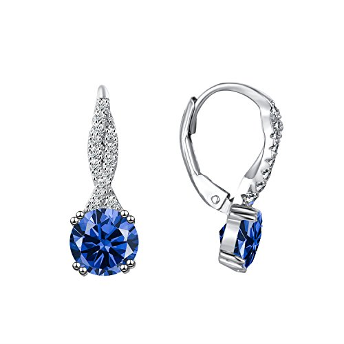 - Caperci Sterling Silver Round Created Blue Sapphire Infinity Dangle Earrings for Women