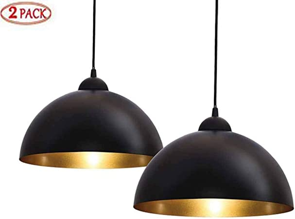 Mikia Lámpara Colgante 2er, lámpara Colgante Negra Retro de diseño, lámpara Colgante LED Industrial Vintage para Sala de Estar, Comedor, Restaurante, sótano, Ø 30 cm, excluido E27 máx.: Amazon.es: Hogar