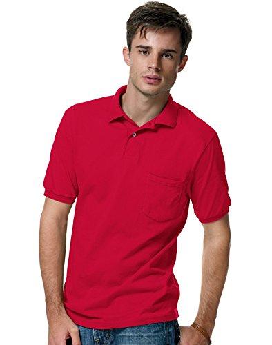 Men's 5.2 oz Hanes STEDMAN Blended Jersey Pocket Polo,Deep ()