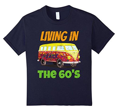 Kids Living In the 60's Flower Power Peace & Love T Shirt 12 Navy