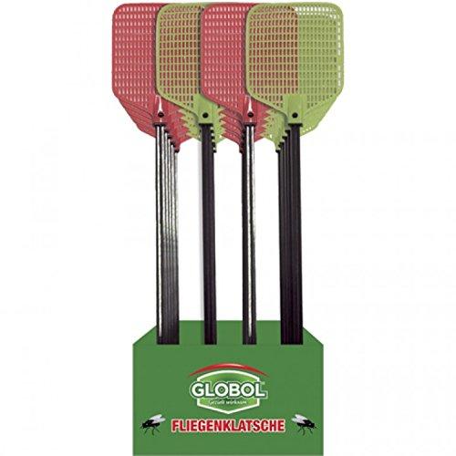 4 Stück - Fliegenklatsche Globol, in verschiedenen Farben (grün, red) - 50 cm