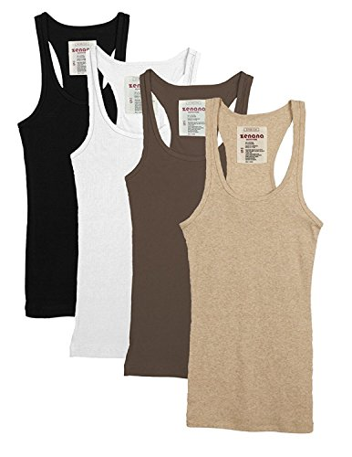 c6a4f429caab83 Zenana Outfitters Trendyfriday 4 Pack Or 2 Pack Women s Basic Ribbed Tank  Top (Medium