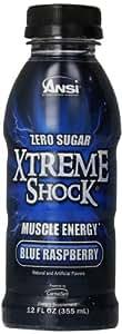 Ansi Xtreme Shock RTD Energy Drink, Blue Raspberry, 12 fl oz, ( 12 Count )