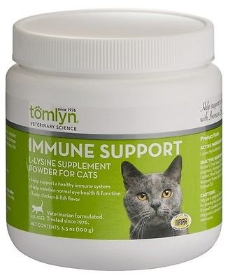 Tomlyn L-Lysine Powder Immune Supports for Cats and Kittens 100g (L-lysine 1000 Mg 100 Tablets)