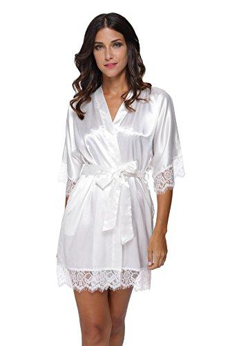 Satin Lace Robe - Women's Sexy Satin Short Kimono Robe-Lace Trim S