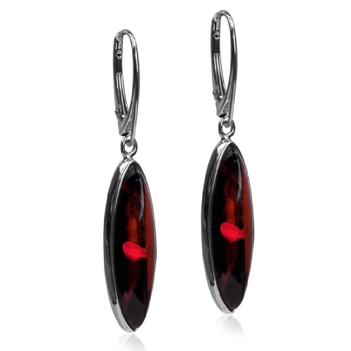 Sterling Silver Red Dark Amber Oval Long Leverback ()