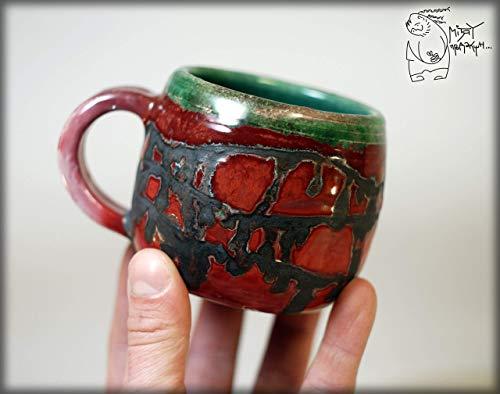 (Striped Raku ceramic pottery coffee mug 320ml/10 oz Handmade woodfiring art mug)