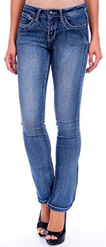 Lola Jeans Women's Lauren Mid Rise 4-Way Stretch Denim Classic Boot Cut Jean (Medium Light Blue, Size 31/10)