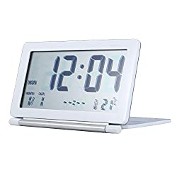 Cideros Digital Alarm Clock Ultra-Slim Travel Pocket Foldable Multifunction Desk Table Clock Date/Temperature Display/Snooze Function (White)