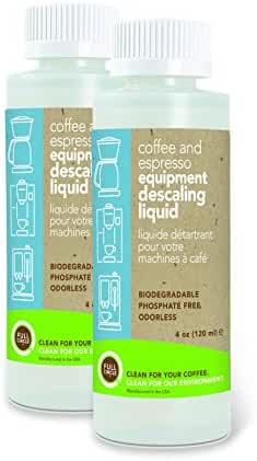 Full Circle Coffee and Espresso Equipment Descaling Liquid, 4 oz - 2 Single Use Bottles