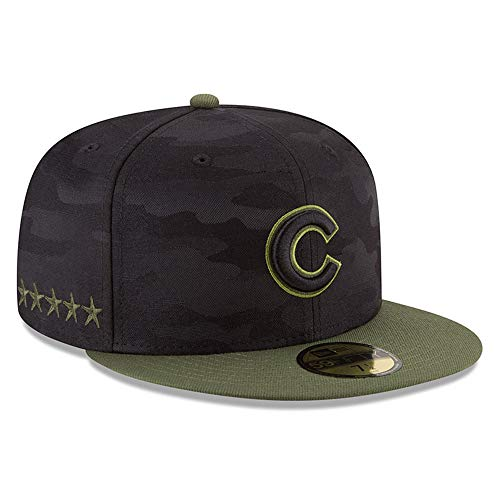 Chicago Cubs Mens Pattern - New Era Chicago Cubs 2018 Memorial Day On-Field 59FIFTY Fitted Hat - Black/Olive (7 1/4)