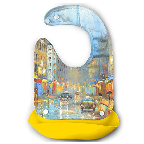- ZZJIAK Paris Night Artistic Signed Print Baby Bibs Waterproof Silicone Bib for Easily Wipes Clean Comfortable Soft Adjustable