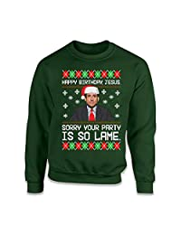 Teepinch Happy Birthday Jesus Sorry Your Party is So Lame Ugly Christmas Sweater Office Michael Scott Shirt ILA-51