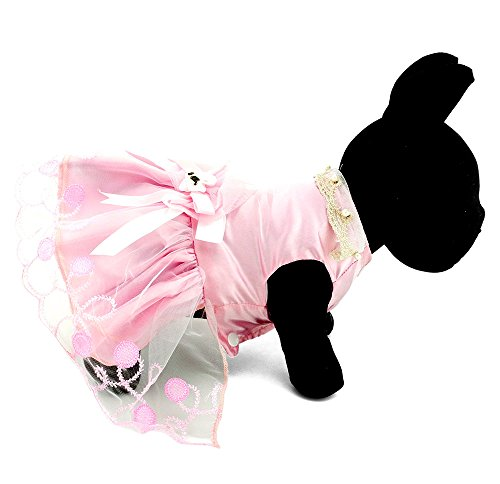 LOVEPET PETLOVE Pet Apparel Small Dog Puppy Cat Clothes Pearl Collar Formal Dress Tutu Wedding Costume