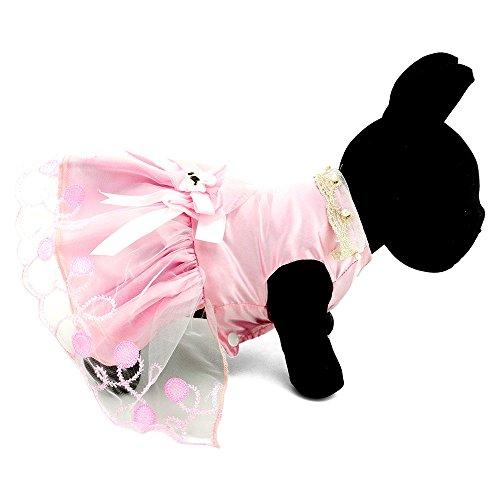 Dress Dog Clothes Teacup (PETLOVE Pet Apparel Small Dog Puppy Cat Clothes Pearl Collar Formal Dress Tutu Wedding Costume Pink S)