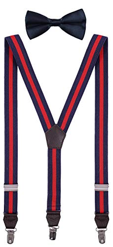 Shark Tooth Suspender for Boys Navy Blue Red Striped with Bowtie 24