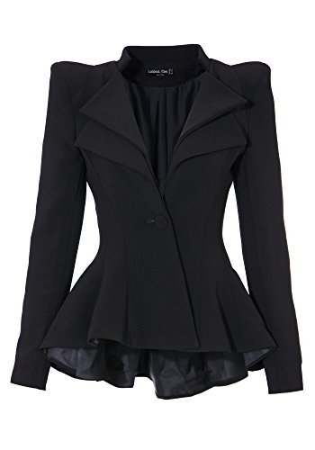 LookbookStore Women's Double Notch Lapel Sharp Shoulder Pad Asymmetry Blazer US 16