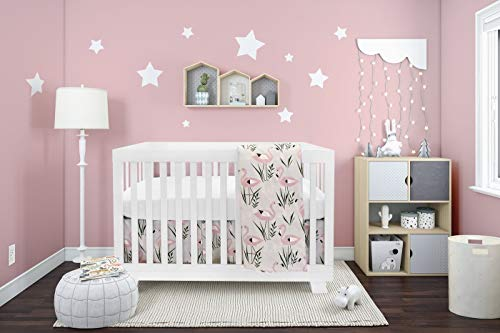BOOBEYEH & DESIGN Baby Crib Bedding for Girls and Boys, Pink and White Flamingo Design, 4-Piece Set Includes Fitted Sheet, Crib Comforter, Comforter Cover, Skirt