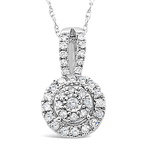 (Diamond Necklace in 10k White Gold 1/4 cttw)