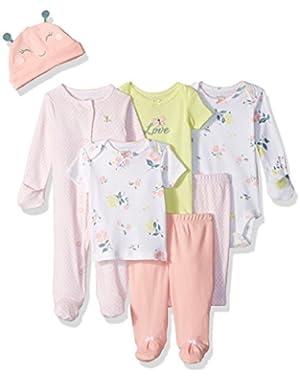 Baby Girls' 7-Piece Bodysuit Set