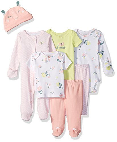 Carter's Baby Girls' 7-Piece Bodysuit Set, Pink Floral, 6 Months (Piece Layette)