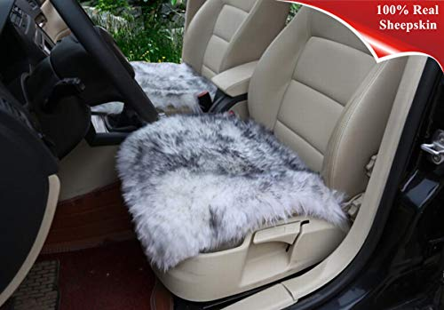 Sisha Sheepskin Car Seat Cover Cushion Luxury Long Wool Winter Warm Seat Cushion for Auto Car and Office Chair (Grey Tips)