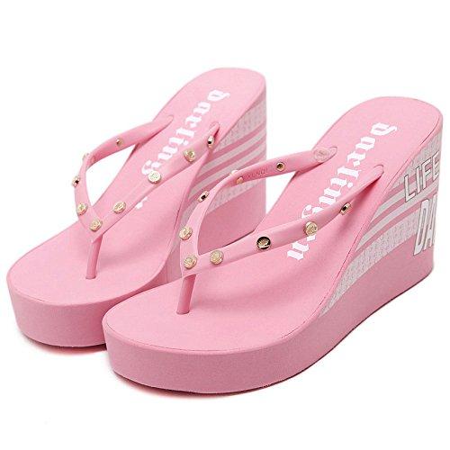 Primavera 10cm Cuña Zapatillas Para Chanclas Mujer Casual Tacón Sandalias De Y Chengxiaoxuan Alto Pink Remaches Moda Verano BWg8cqZE0z