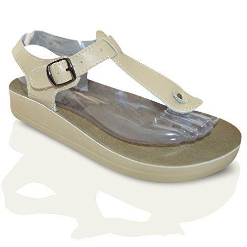 Pour Femmes En Cuir Plat DécontractéÉTé Plage String Barre En T Tongs Taille De Chaussures Sandales Femmes 3-8 UK - Beige Buckle String, Femme, EU 40