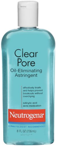 Neutrogena Clear Pore Oil-Eliminating Astringent with Salicylic Acid, Pore Clearing Treatment for Acne-Prone Skin, 8 fl. oz (Pack of 2)