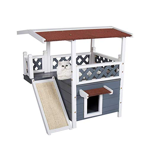 (Kinbor Wooden Cat House, Outdoor and Indoor Pet House Kitten Cat Condo Shelter, Feral Pet Houses for Cats Insulated w/Roof, Stairs & Escape Door)