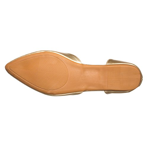 Pointed Riley Gold Riverberry Open Pu Flat Women's D'Orsay Side Toe EPqUqw
