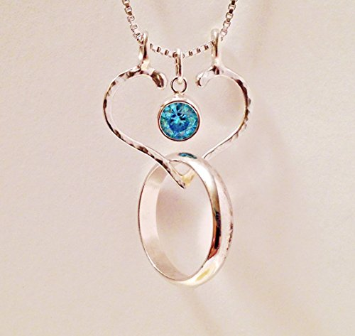 Ring Holder Necklace, Charm Holder, Aquamarine and Hammered Open Heart by Ali (Lady Executive Blue Gem)